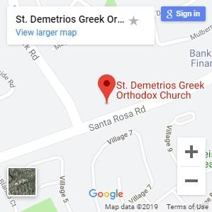 Map to St Demetrios Greek Orthodox Church